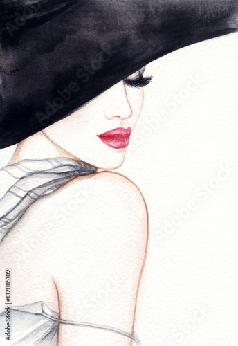 Fotobehang Anna I. Woman portrait. Fashion illustration. Watercolor painting