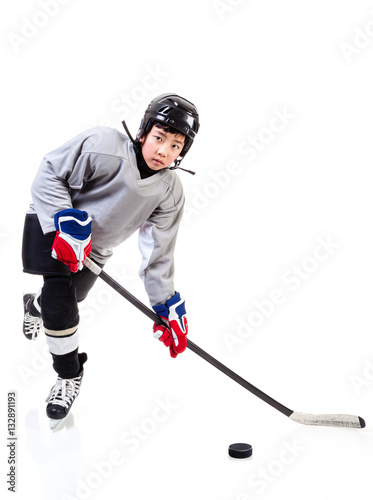 Junior Ice Hockey Player Isolated on White Background Poster
