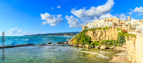 View of a sunset over Vieste - main city of Capo Gargano, Apulia, Italy