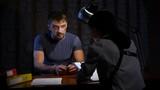 Interrogation of criminal man in handcuffs