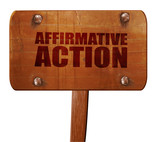 affirmative action, 3D rendering, text on wooden sign