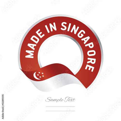 Poster Made in Singapore flag red color label button banner