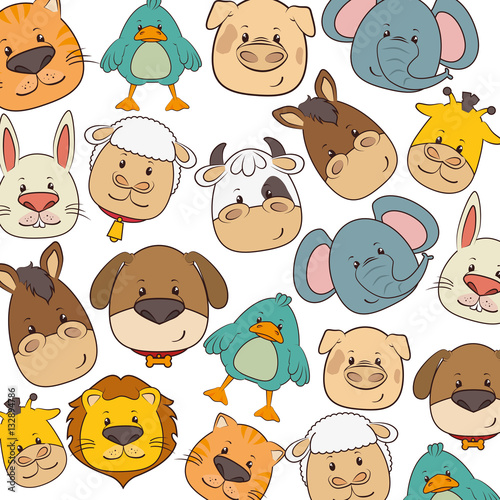 Poster cute animals heads pattern vector illustration design