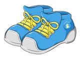 par de zapatos tenis ilustrados estilo caricatura - 132897105