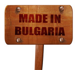 Made in bulgaria, 3D rendering, text on wooden sign