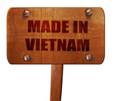 Made in vietnam, 3D rendering, text on wooden sign