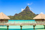 Otemanu mountain view and traditional overwater bungalow's wit - 132907181