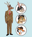 fashion hipster style deer set animals vector illustration eps 10