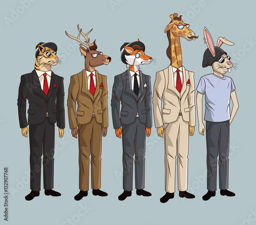 Fotobehang Hipster Hert collection hipster style animals fashionable sunglasses vector illustration eps 10