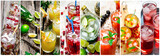 Food collage of fresh cocktails . - 132910705