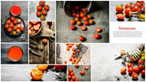 Food collage of fresh tomato.
