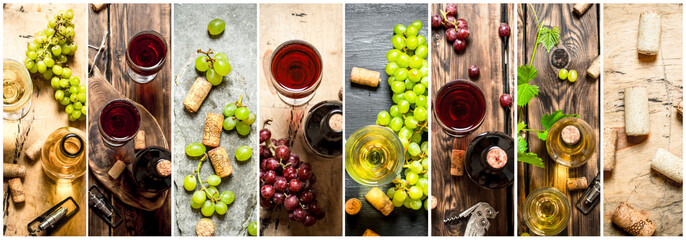 Food collage of red and white wine. © Artem Shadrin