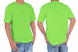 Man wearing blank mantis green t-shirt with clipping path, front