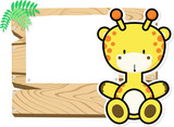illustration of cute baby giraffe on wooden board with blank sign isolated on white background