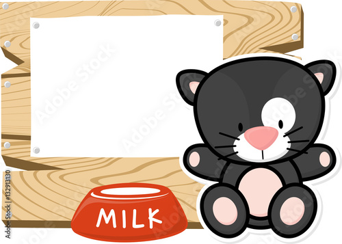 Poster illustration of cute baby black cat on wooden board with blank sign isolated on