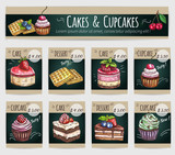 Dessert cakes, cupcakes vector price cards