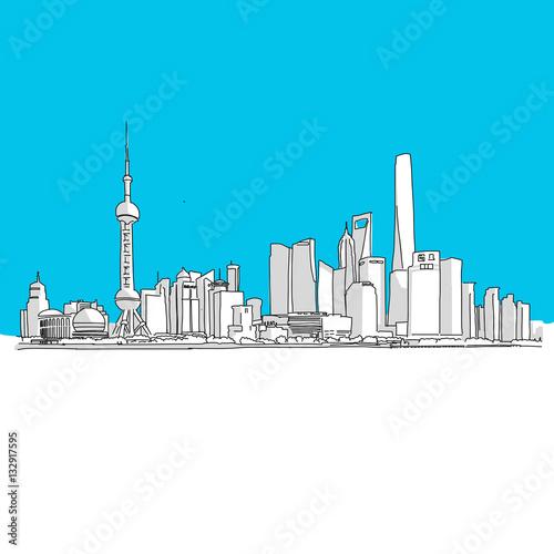 Poster Shanghai Panorama, Blaue Serie