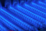 Burning gas in water heater furnace