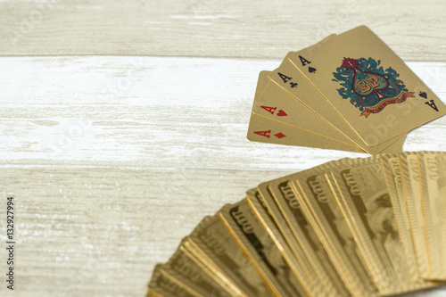 Poster Aces on a wooden background