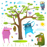 Animals tree sky sun and birds clip art collection.