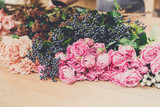 Flower shop background. Fresh roses for bouquet delivery
