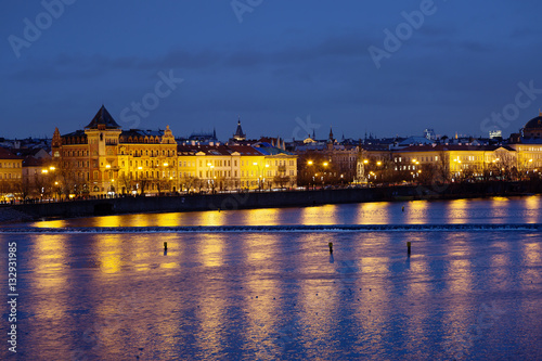 Poster Прага. Ночной город.