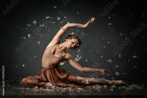 girl dancing barefoot with feathers. ballet. grey background Poster