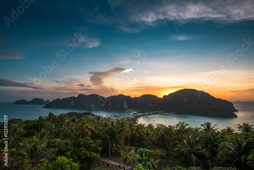 View point of Phi Phi Island at sunset time, Krabi, Thailand Poster