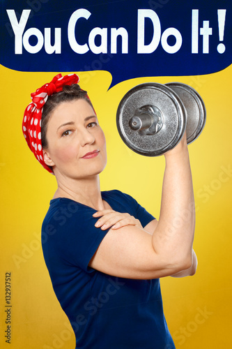 Poster You can do it rosie lifting dumbbell