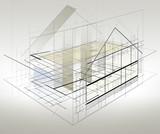 Projekt - szkic - domu jednorodzinnego.  Wizualizacja projektu w perpektywie