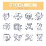 Strategy Building Doodle Icons - 132945367