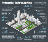 City isometric industry infographics there are diagram, building, road, park, transportation and crane in the area of the town with the business conceptual graphs and symbols