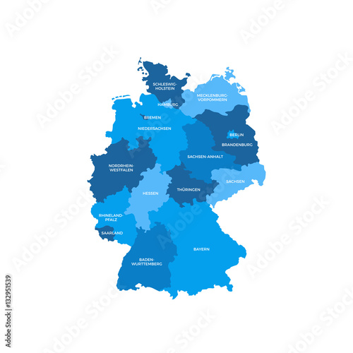Plakát, Obraz Germany Regions Map