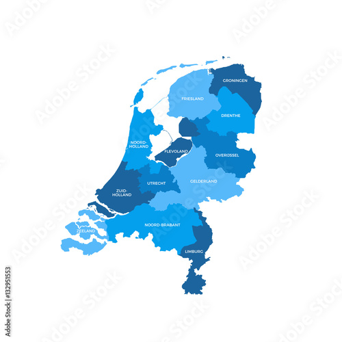 Netherlands Regions Map Poster