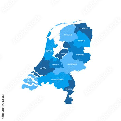 Plakát Netherlands Regions Map