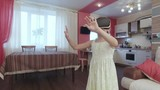Young beautiful girl with virtual reality in modern interior first experience search