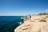 Stone cliff in a beautiful blue sea Cyprus