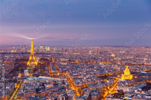 Night aerial panoramic of Paris skyline, France Photo by Kavalenkava