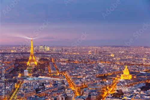 Poster Night aerial panoramic of Paris skyline, France