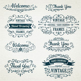 hand-drawing vintage flourishes and frames. - 132955954