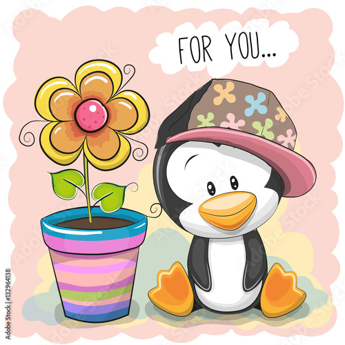 Poster Cute Cartoon Penguin with flower