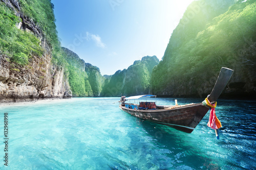 Deurstickers Lichtblauw boat and beautiful sea, Phi Phi island, Thailand