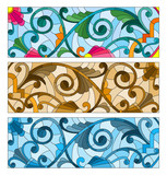 Set of illustrations of stained glass with abstract swirls and flowers , horizontal orientation