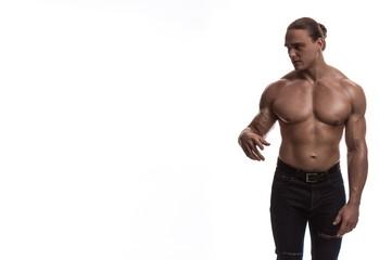 naked torso male bodybuilder athlete in the studio on a white background © kozlik_mozlik