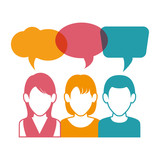 People communicating concept icon vector illustration design