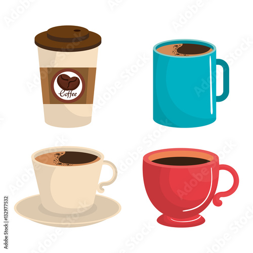 Sticker delicious coffee drink icon vector illustration design