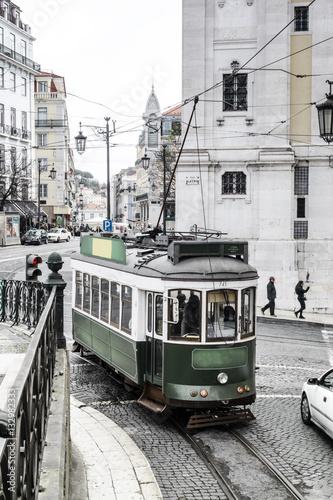 Poster alte Strassenbahn in Lissabon, Portugal