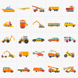 Fototapety Orange and yellow set of construction and transportation cars and machines vector icon