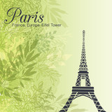 Vector Paris Eifel Tower On Green Leaves Spring Background. Great For Travel In France Card, Poster, Party Invitation.