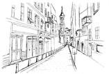 Panorama miasta Nicea. Rysunek ręcznie rysowany na białym tle.